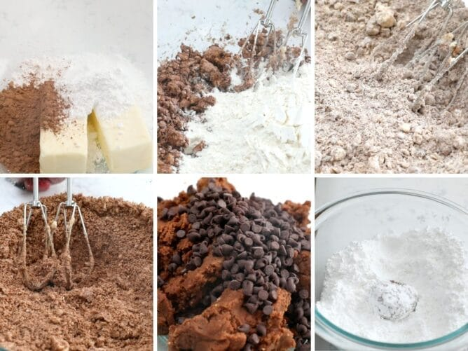 6 photos showing how to make snowball cookies with cocoa