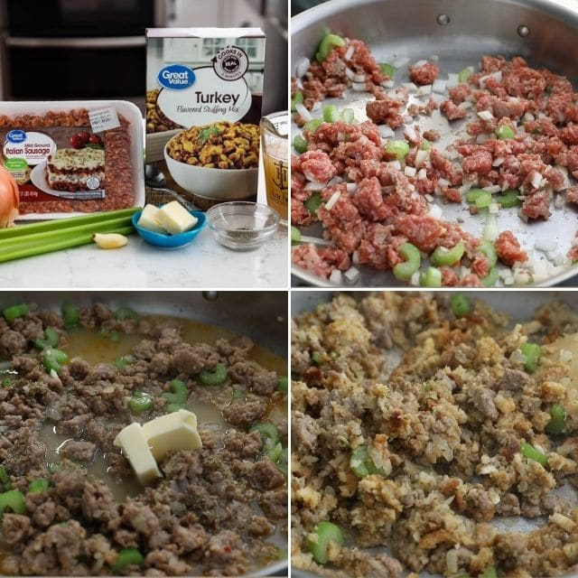 collage of 4 photos showing how to make stuffing
