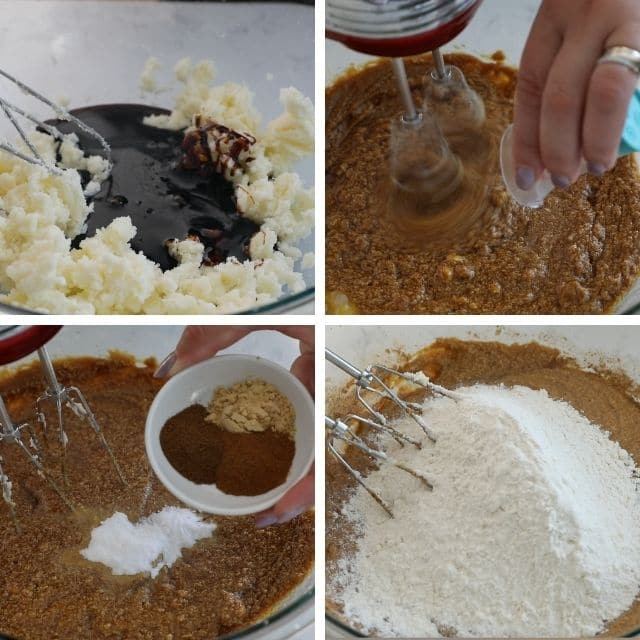 collage of 4 photos making cookie dough