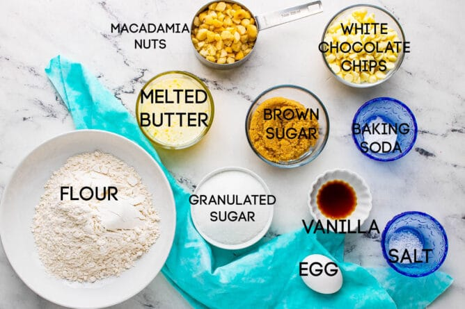 Overhead shot of the ingredients to make white chocolate macadamia nut cookies