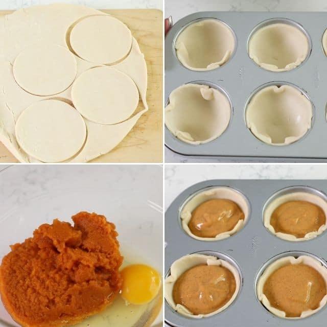 Mini pumpkin pie photo collage of the process