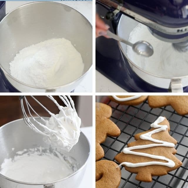 collage of 4 photos with powdered sugar in bowl, mixing icing, finished icing and icing on cookie