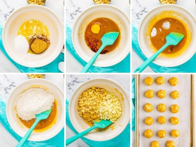 Six photos showing the process of making white chocolate macadamia nut cookie dough