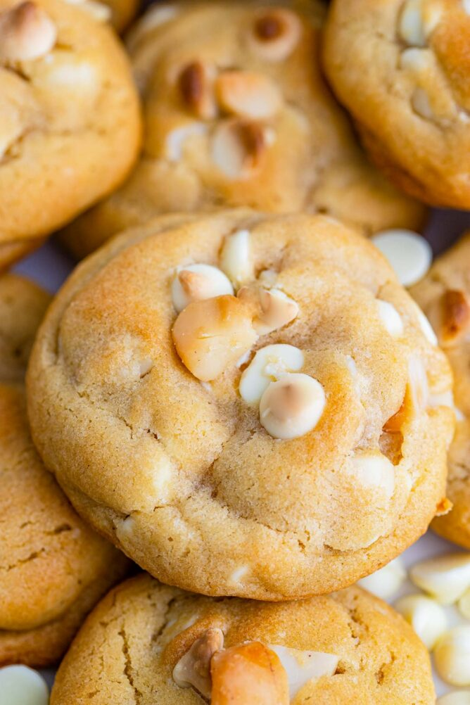 Close up shot of white chocolate macadamia nut cookies