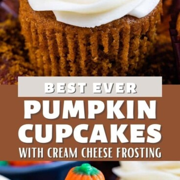 Photo collage of pumpkin cupcakes with recipe title in the middle