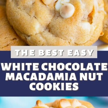 Photo collage of white chocolate macadamia nut cookies with recipe title in middle of photos