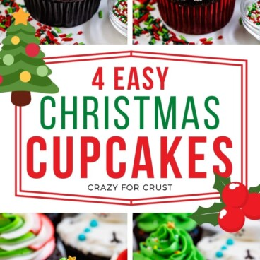 collage of 4 christmas cupcake photos with words in center of photo