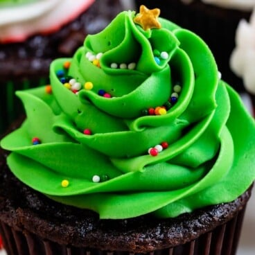 christmas tree cupcake with brown wrapper and green frosting