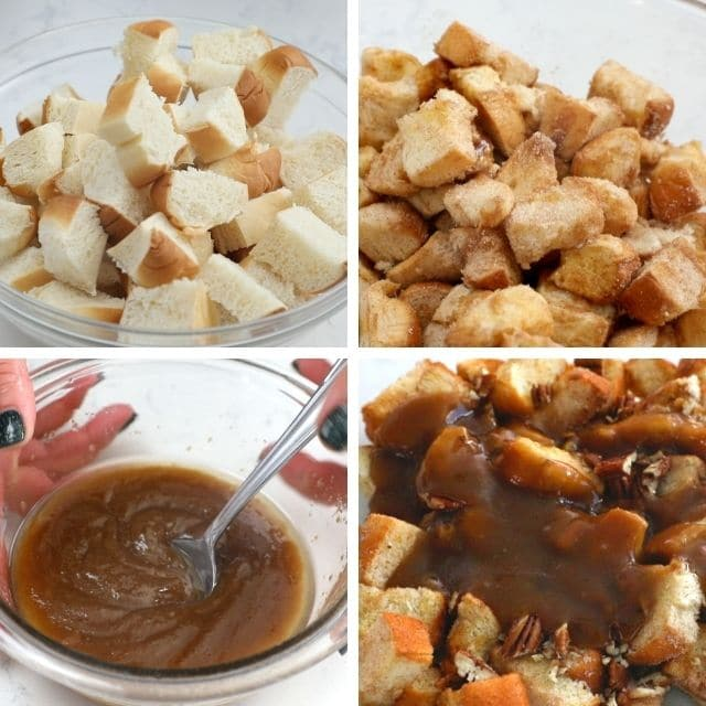 Four images showing the process of making Monkey Bread