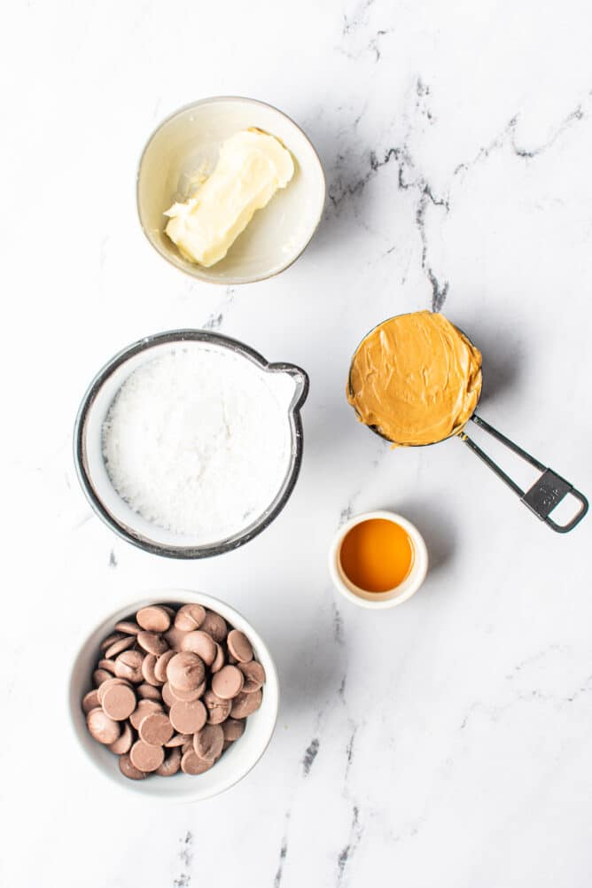 Overhead view of ingredients used to make peanut butter balls