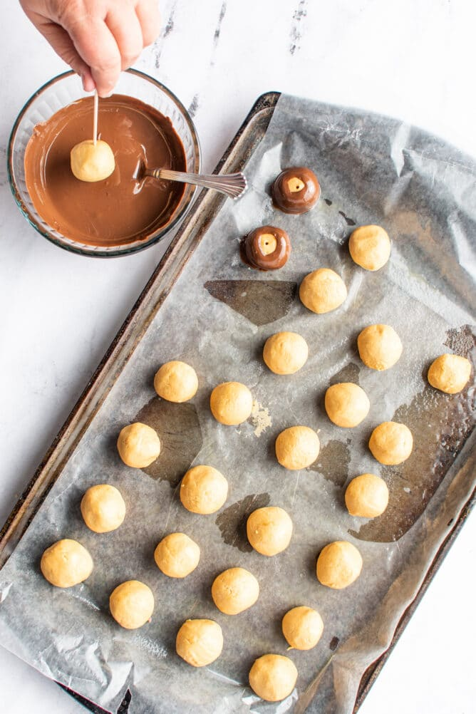 Overhead view of peanut butter balls being dipped in chocolate and placed back on sheet pan
