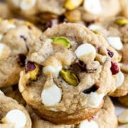 white chocolate cranberry cookie with pistachios close up