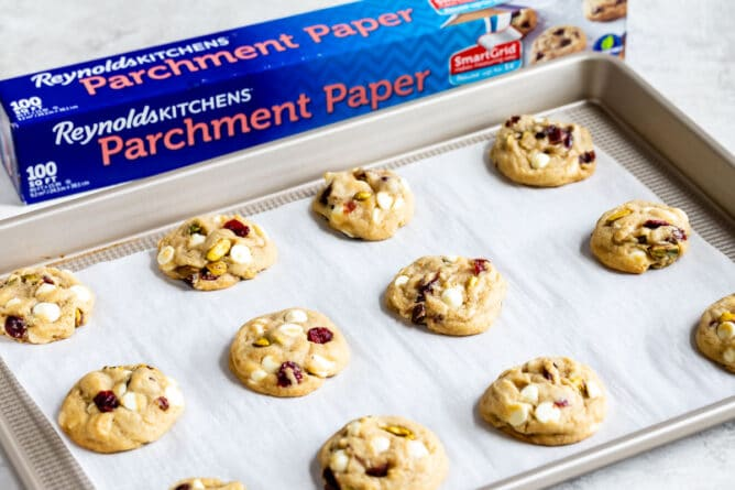 cookies on cookie sheet with parchment paper box