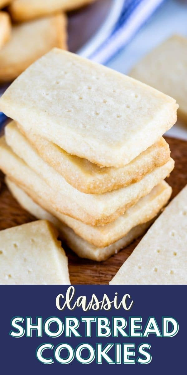 Stack of rectangular shortbread cookies on a wood cutting board with recipe title on bottom of image
