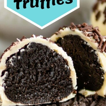 Oreo truffle cut in half sitting on top of an Oreo with recipe title on top of photo