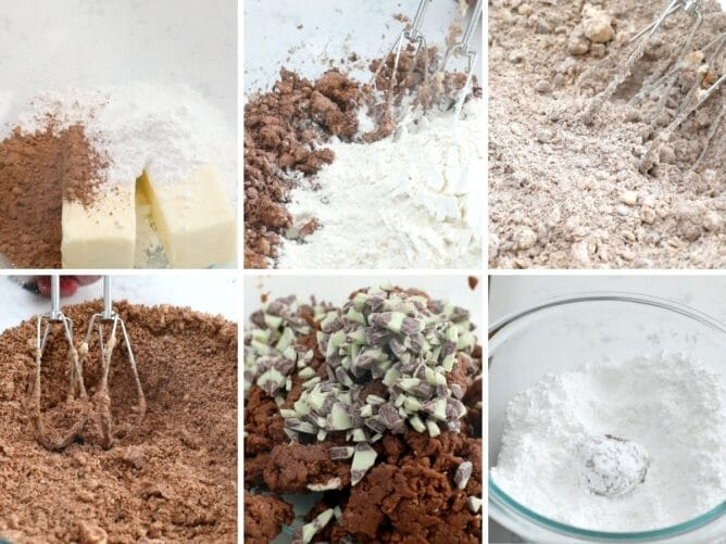 Process collage showing different steps to making mint snowball cookies
