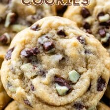 Group of mint chip cookies with recipe title on top of image