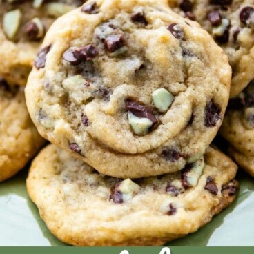 Group of mint chip cookies with recipe title on bottom of image