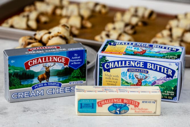 cream cheese and butter box with cookies behind