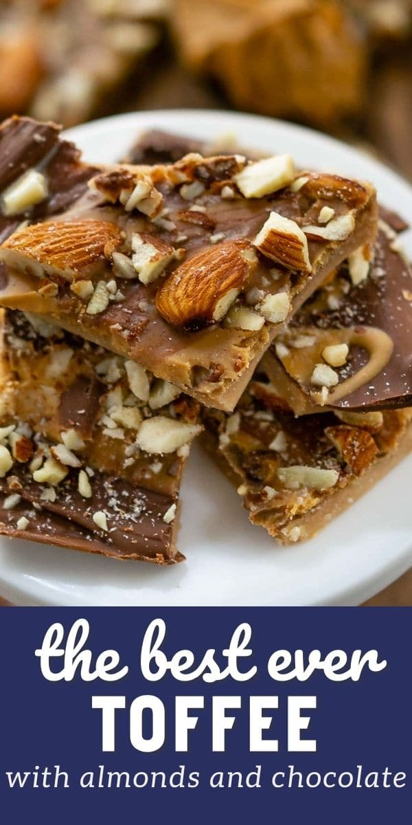 Toffee pieces stacked on a white serving plate with recipe title on bottom of image