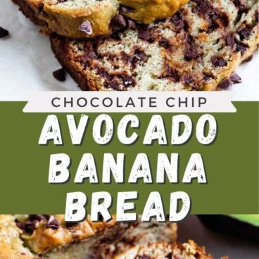 Photo collage showing avocado banana bread with recipe title in between two photos