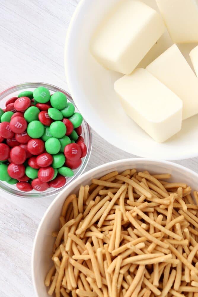 Overhead view of ingredients used in holiday haystacks