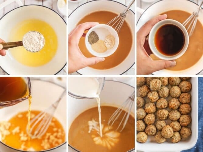 Overhead view of six photos showing the process of making swedish meatballs step by step