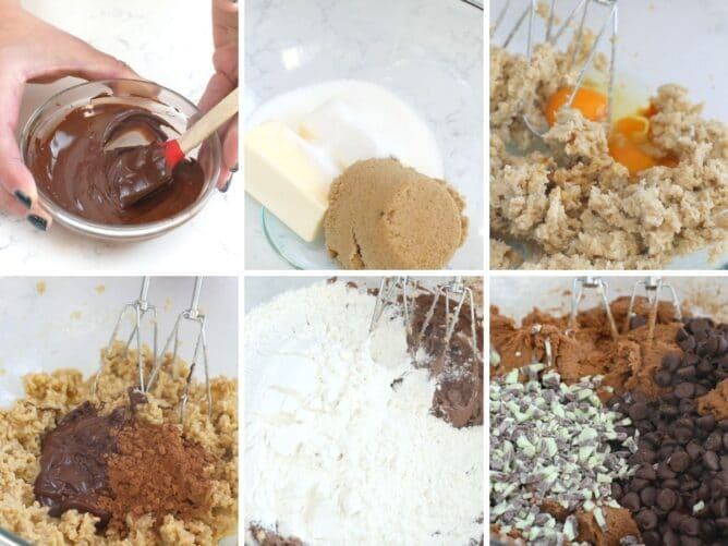 6 photo collage showing process of making double chocolate mint cookie dough