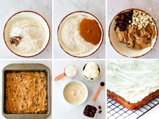 Six photo collage showing the process of making cranberry bliss bars