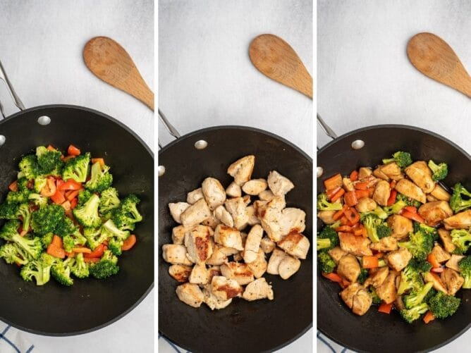 Three photo collage showing cooking process of chicken teriyaki bowls