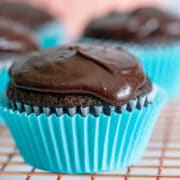Close up photo of best chocolate cupcakes with chocolate frosting in a blue cupcake liner
