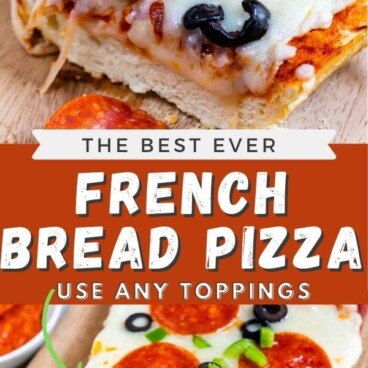 collage of two photos of French bread pizza with block text in the middle