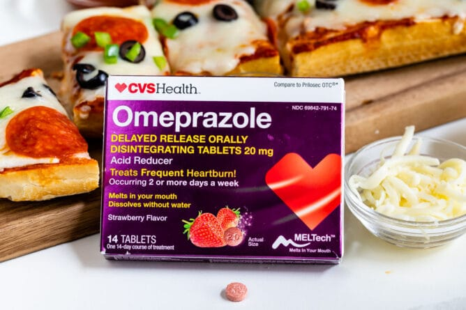 Omeprazole ODT box with pizza