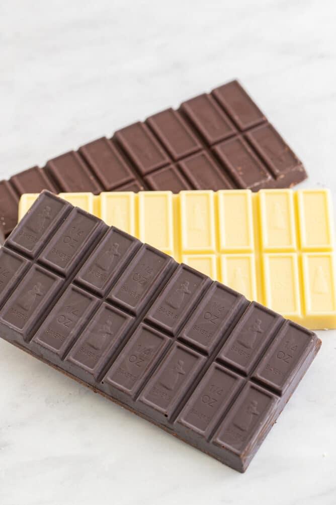 dark chocolate semi sweet and white chocolate baking bars