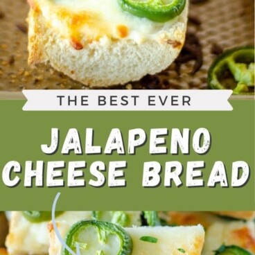 Photo collage showing jalapeno cheese bread with the recipe title in middle of photos