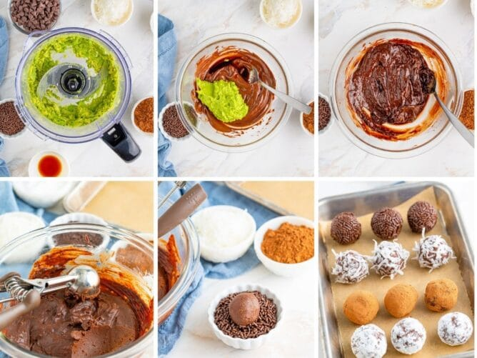 Six photos showing the process of making chocolate avocado truffles