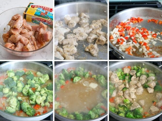 collage of 6 photos showing how to make Garlic Butter Chicken