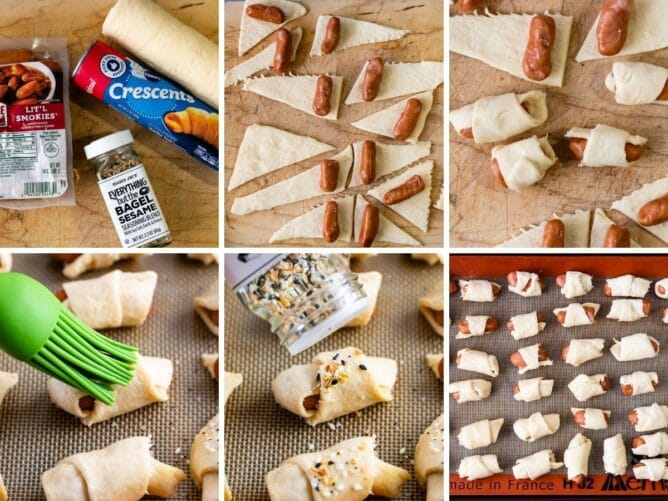 Six photos showing the process of making everything pigs in a blanket