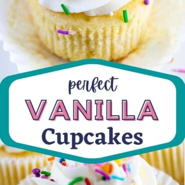 Photo collage of perfect vanilla cupcakes with recipe title in middle of photos