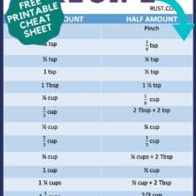 infographic of how to half a recipe with measurement chart