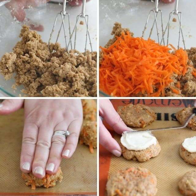 Four photo collage showing process of making carrot cake cookies