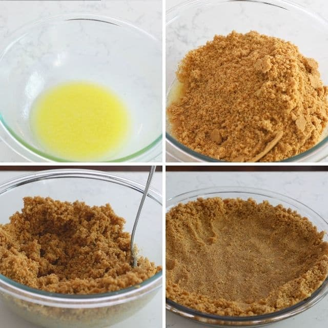 Four photo collage showing steps to making easy no-bake peanut butter cookie crust