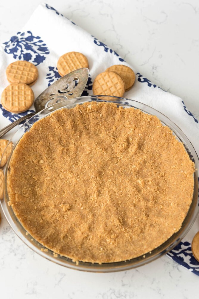 Overhead shot of easy no-bake peanut butter cookie crust