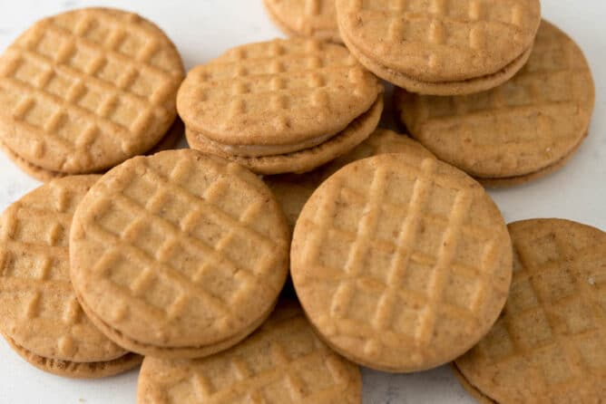 Stack of peanut butter sandwich cookies