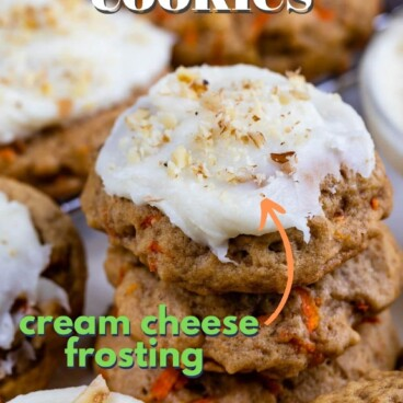 Lots of carrot cake cookies, some stacked on eachother with recipe title on top of image