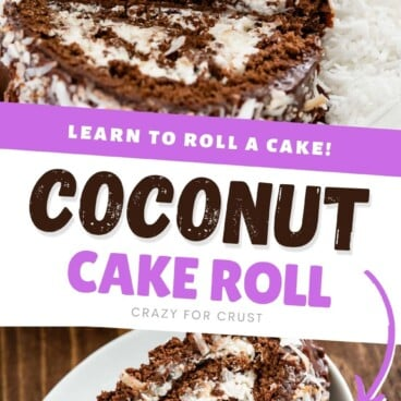 Two photo collage of chocolate coconut cake roll with recipe title in between the two photos