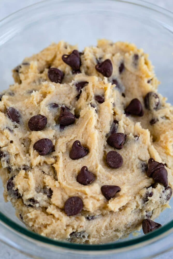 bowl of cookie dough with chocolate chips