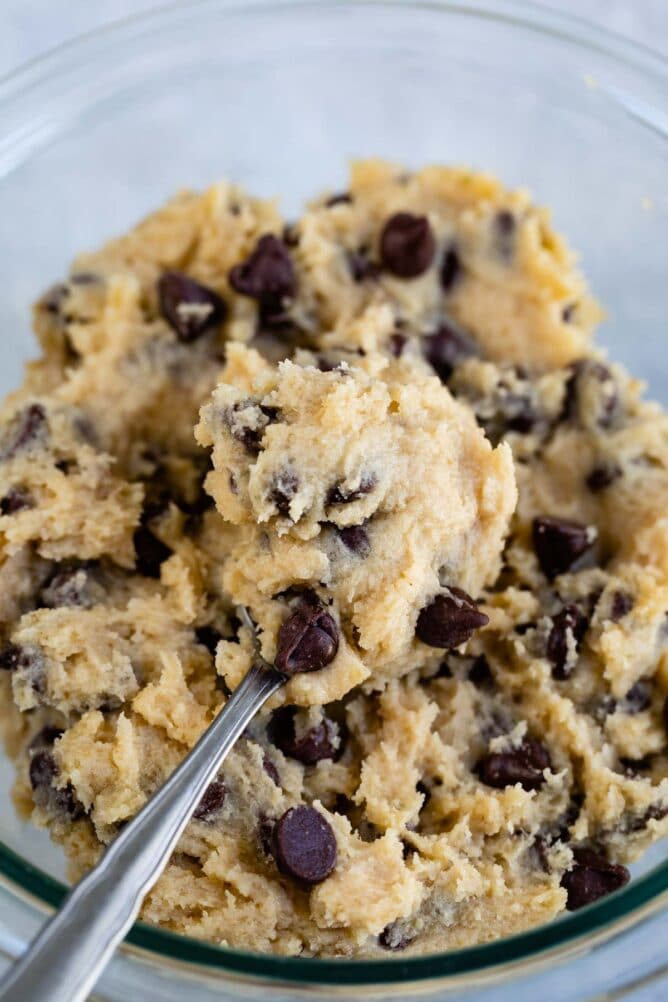 bowl of cookie dough with spoon