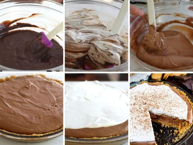Six photo collage showing the process of making chocolate cream pie