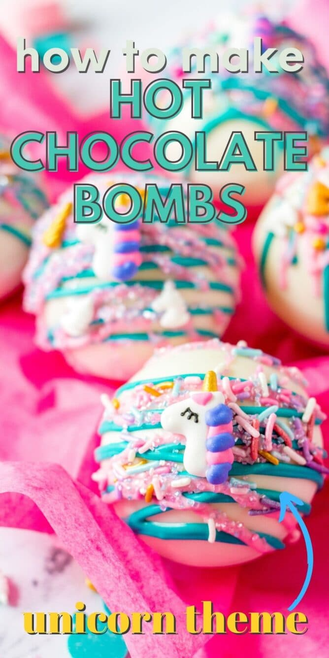 White hot chocolate bombs decorated as unicorns with recipe title on top of image